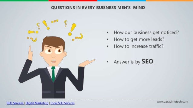 www.aaravinfotech.com QUESTIONS IN EVERY BUISNESS MEN'S MIND • How our business get noticed? • How to get more leads? • Ho...