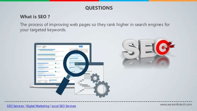www.aaravinfotech.com QUESTIONS The process of improving web pages so they rank higher in search engines for your targeted...