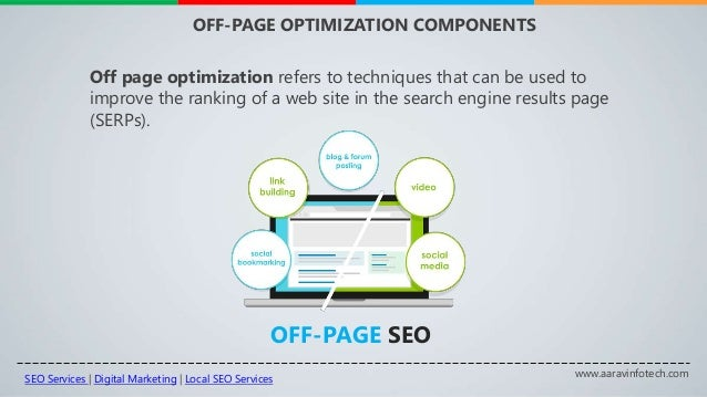 www.aaravinfotech.com OFF-PAGE OPTIMIZATION COMPONENTS OFF-PAGE SEO Off page optimization refers to techniques that can be...