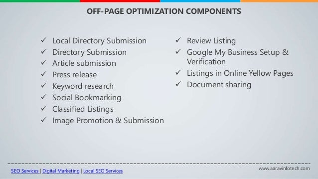 www.aaravinfotech.com OFF-PAGE OPTIMIZATION COMPONENTS  Local Directory Submission  Directory Submission  Article submi...