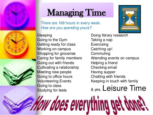 Managing Time There are 168 hours in every week. How are you spending yours? Sleeping Going to the Gym Getting ready for c...