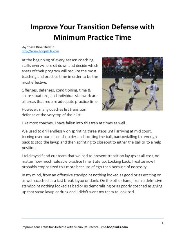 Improve Your Transition Defense with Minimum Practice Time -by Coach Dave Stricklin http://www.hoopskills.com  At the begi...