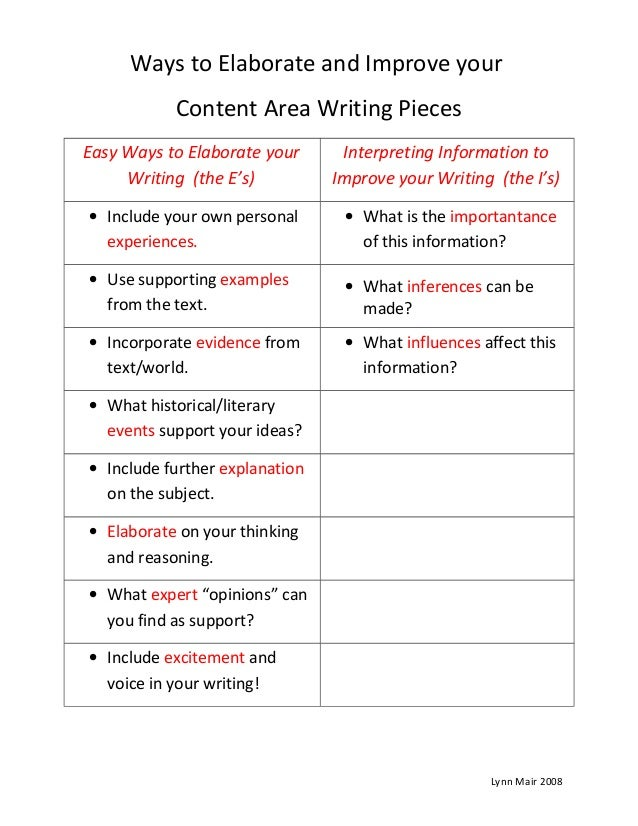 Ways to Elaborate and Improve your Content Area Writing Pieces Easy Ways to Elaborate your Writing (the E's) Interpreting ...
