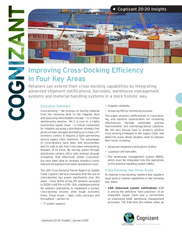 • Cognizant 20-20 Insights  Improving Cross-Docking Efficiency in Four Key Areas Retailers can extend their cross-docking ...