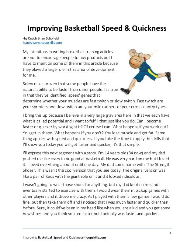 1 Improving Basketball Speed and Quickness-hoopskills.com Improving Basketball Speed & Quickness -by Coach Brian Schofield...