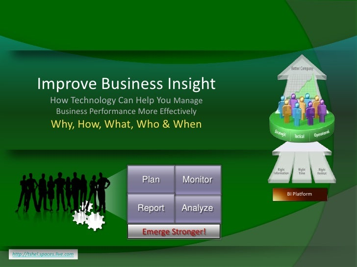 Improve Business Insight                  How Technology Can Help You Manage                    Business Performance More ...