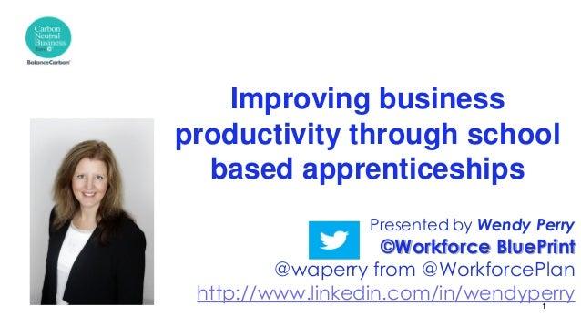 Presented by Wendy Perry ©Workforce BluePrint @waperry from @WorkforcePlan http://www.linkedin.com/in/wendyperry Improving...