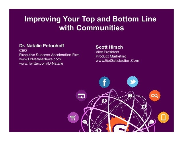 Improving Your Top and Bottom Line with Communities Scott Hirsch Vice President  Product Marketing www.GetSatisfaction.Com...