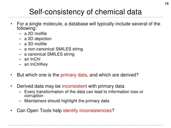 Self-consistency of chemical data<br />For a single molecule, a database will typically include several of the following:<...