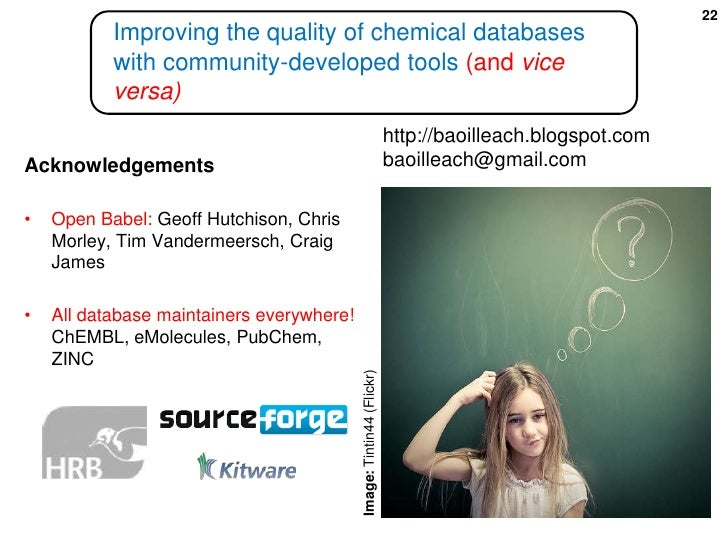 Improving the quality of chemical databases with community-developed tools (and vice versa)<br />http://baoilleach.blogspo...