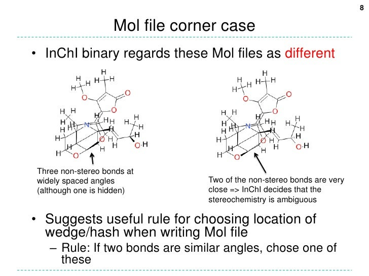 Mol file corner case<br />InChI binary regards these Mol files as different<br />Suggests useful rule for choosing locatio...