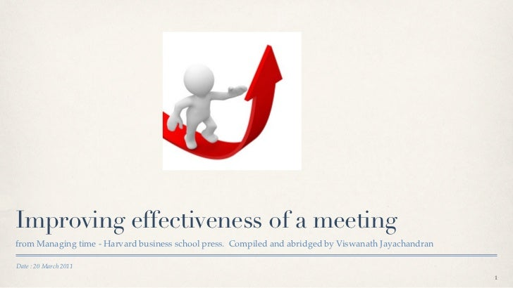 Improving effectiveness of a meetingfrom Managing time - Harvard business school press. Compiled and abridged by Viswanath...