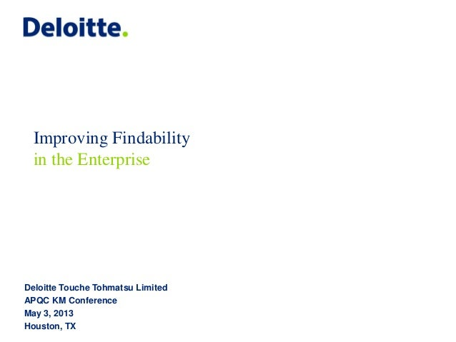 Deloitte Touche Tohmatsu LimitedAPQC KM ConferenceMay 3, 2013Houston, TXImproving Findabilityin the Enterprise