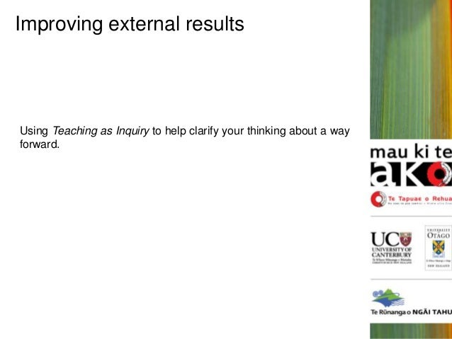 Improving external results  Using Teaching as Inquiry to help clarify your thinking about a way forward.