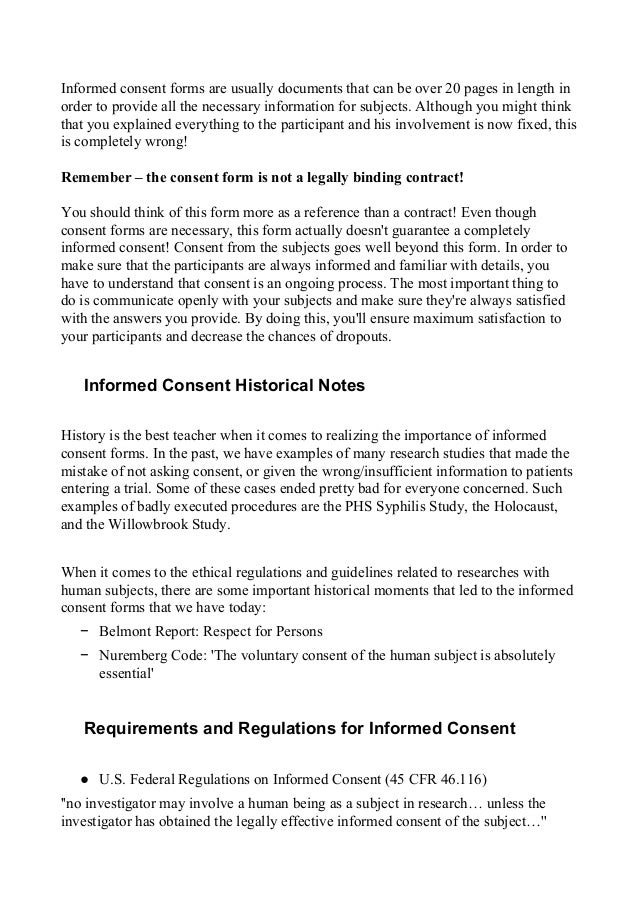 Improving Informed Consent Forms – Informed Consent Form