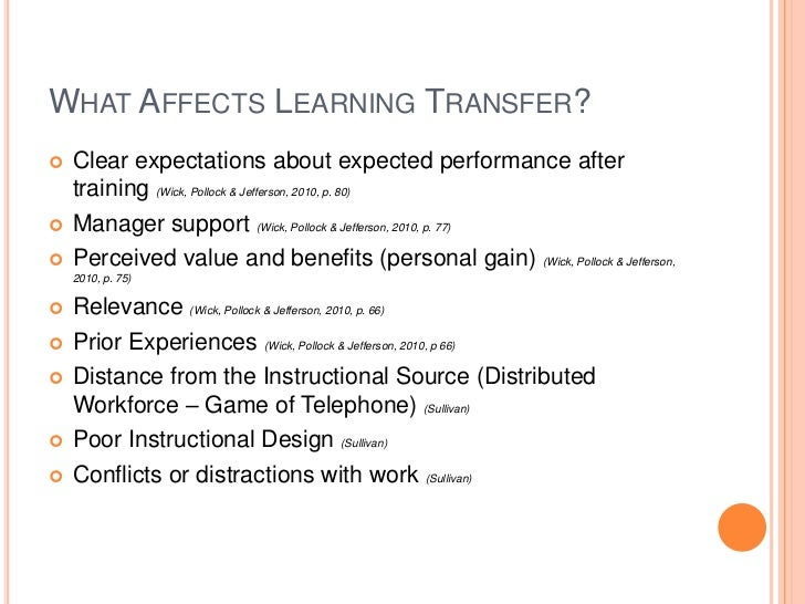 Improving learning transfer in the workplace