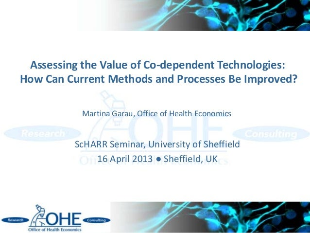 Assessing the Value of Co-dependent Technologies:How Can Current Methods and Processes Be Improved?ScHARR Seminar, Univers...