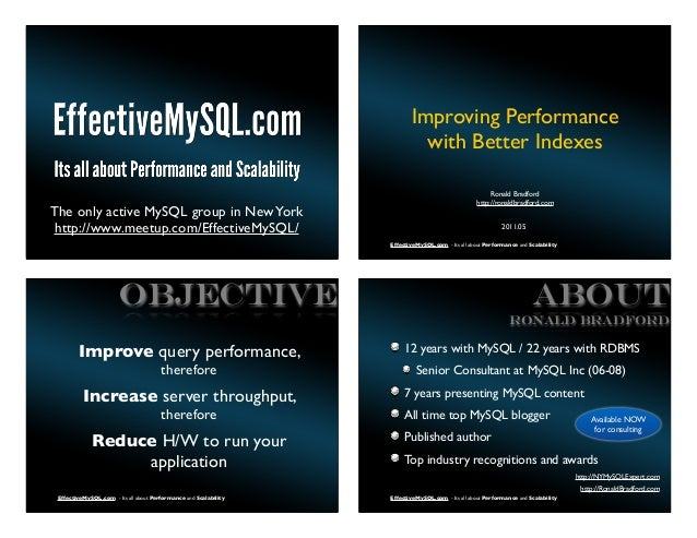 Improving Performance                                                                           with Better Indexes       ...
