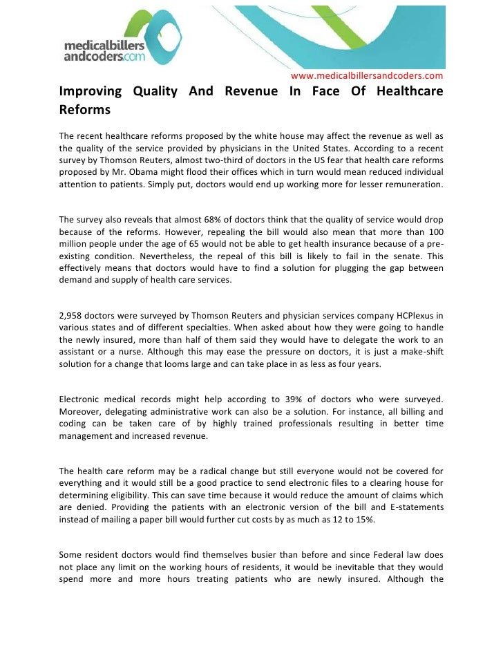 Improving Quality And Revenue In Face Of Healthcare Reforms The recent healthcare reforms proposed by the white house may ...