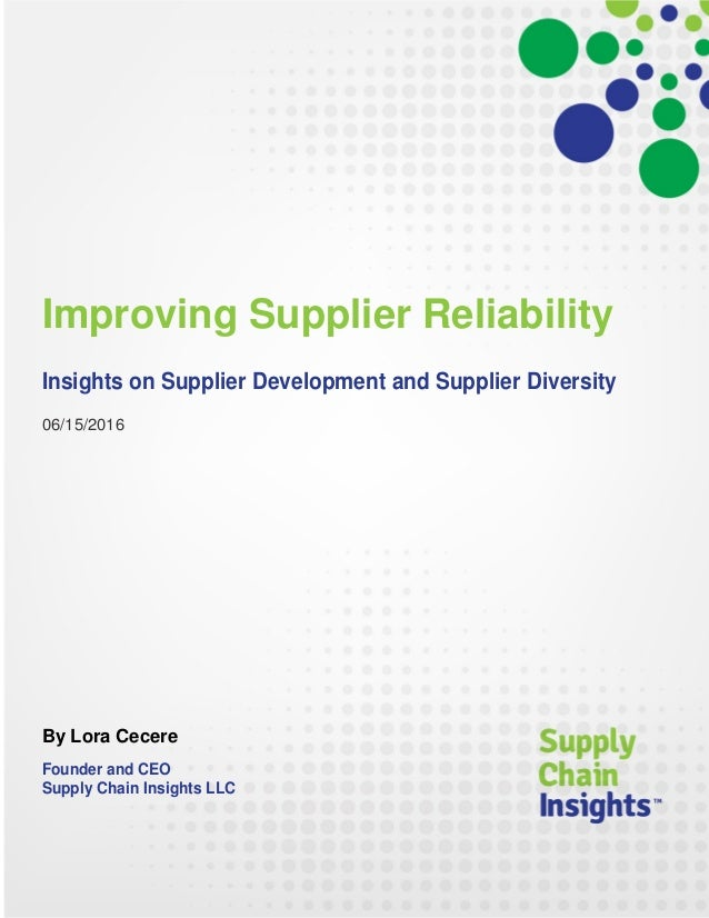 Improving Supplier Reliability -15 June 2016 - Report