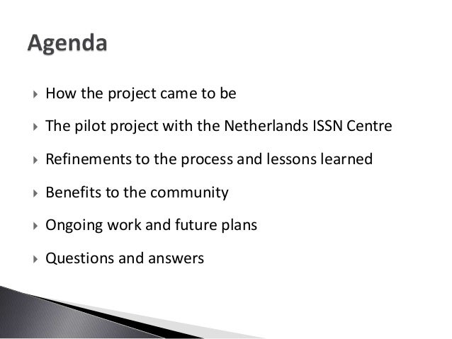 Improving the Availability of ISSN - A Joint Project  Slide 2