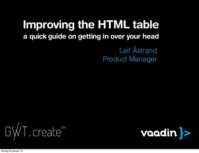 Leif Åstrand Product Manager Improving the HTML table a quick guide on getting in over your head lördag 24 januari 15