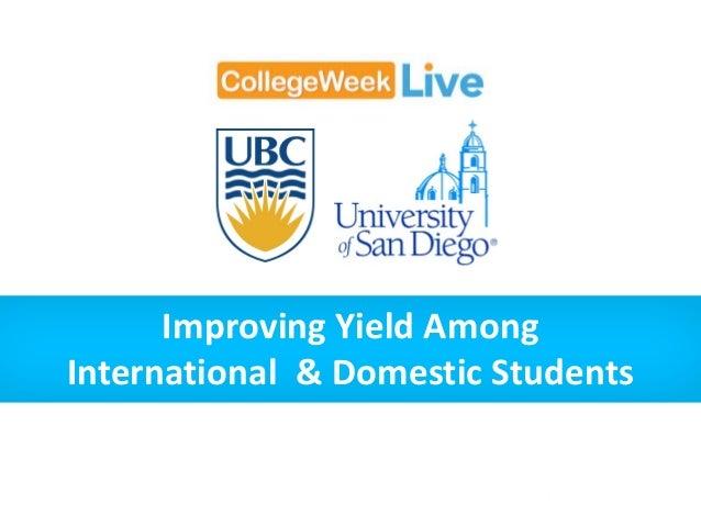 Improving Yield Among International & Domestic Students
