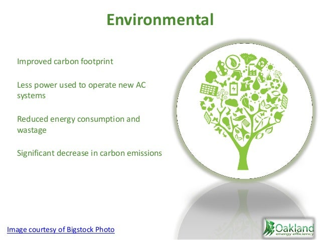Environmental Improved carbon footprint Less power used to operate new AC systems Reduced energy consumption and wastage S...