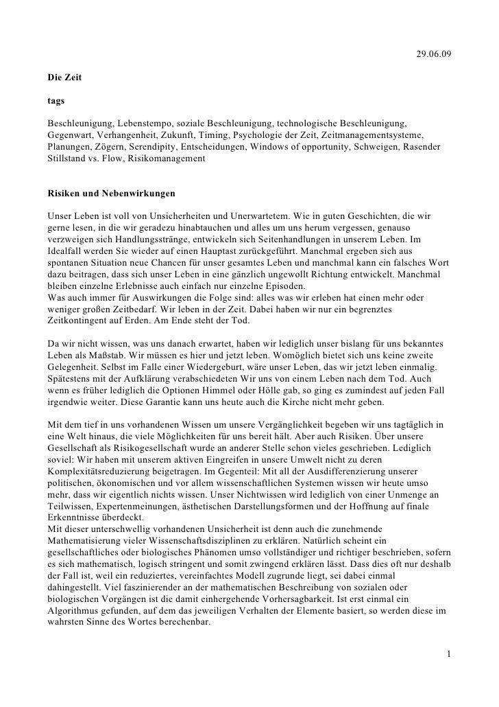 29.06.09  Die Zeit  tags  Beschleunigung, Lebenstempo, soziale Beschleunigung, technologische Beschleunigung, Gegenwart, V...
