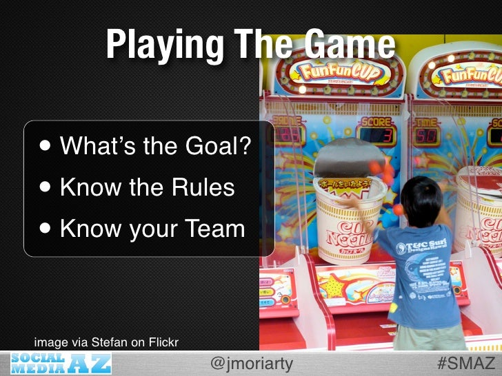 Playing The Game  • What's the Goal? • Know the Rules • Know your Team  image via Stefan on Flickr                        ...