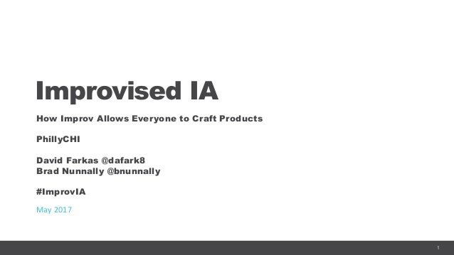 1 Improvised IA How Improv Allows Everyone to Craft Products PhillyCHI David Farkas @dafark8 Brad Nunnally @bnunnally #Imp...