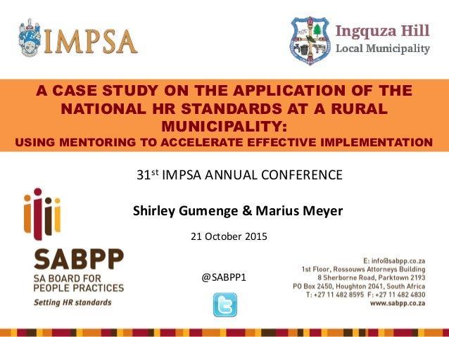 A Case Study On The Application Of The National Hr