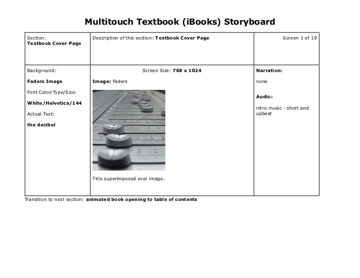 Multitouch Textbook (iBooks) Storyboard Section:                  Description of this section: Textbook Cover Page        ...