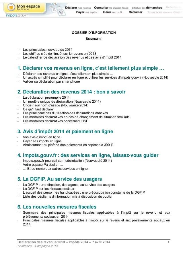 Impot Sur Les Revenus 2013 Les Declarations En Ligne