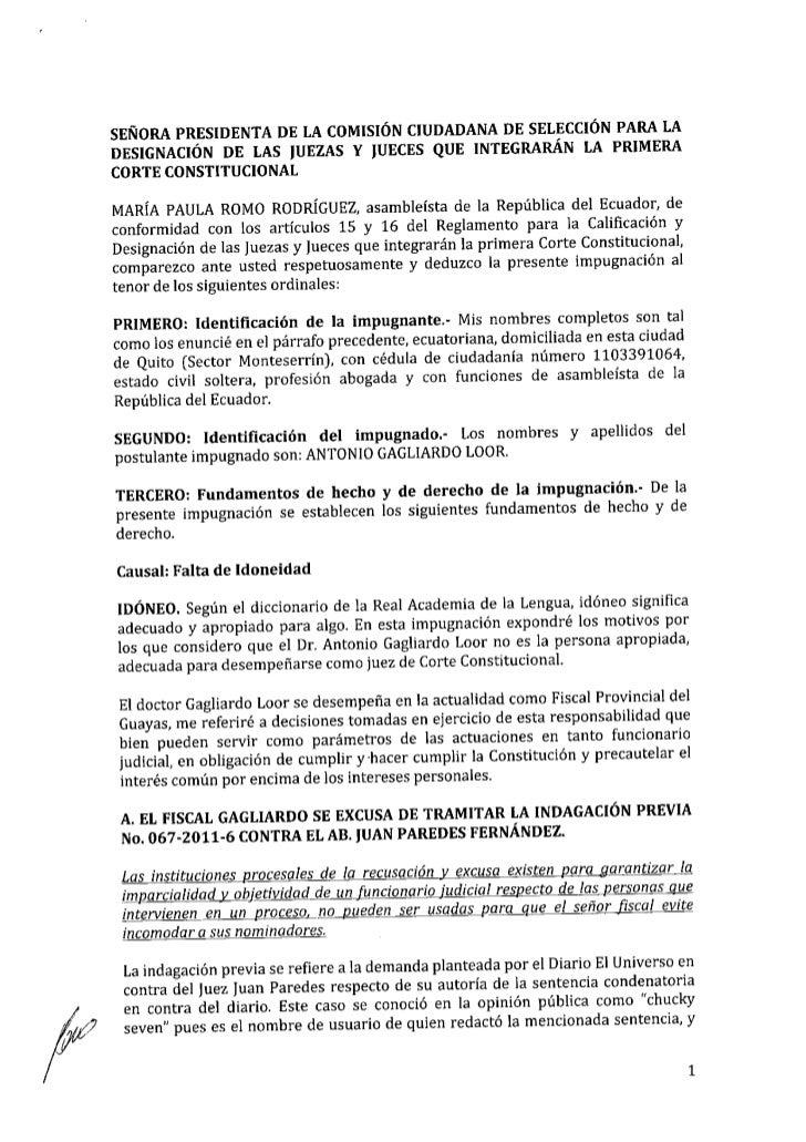 Impugnación Antonio Gagliardo Loor