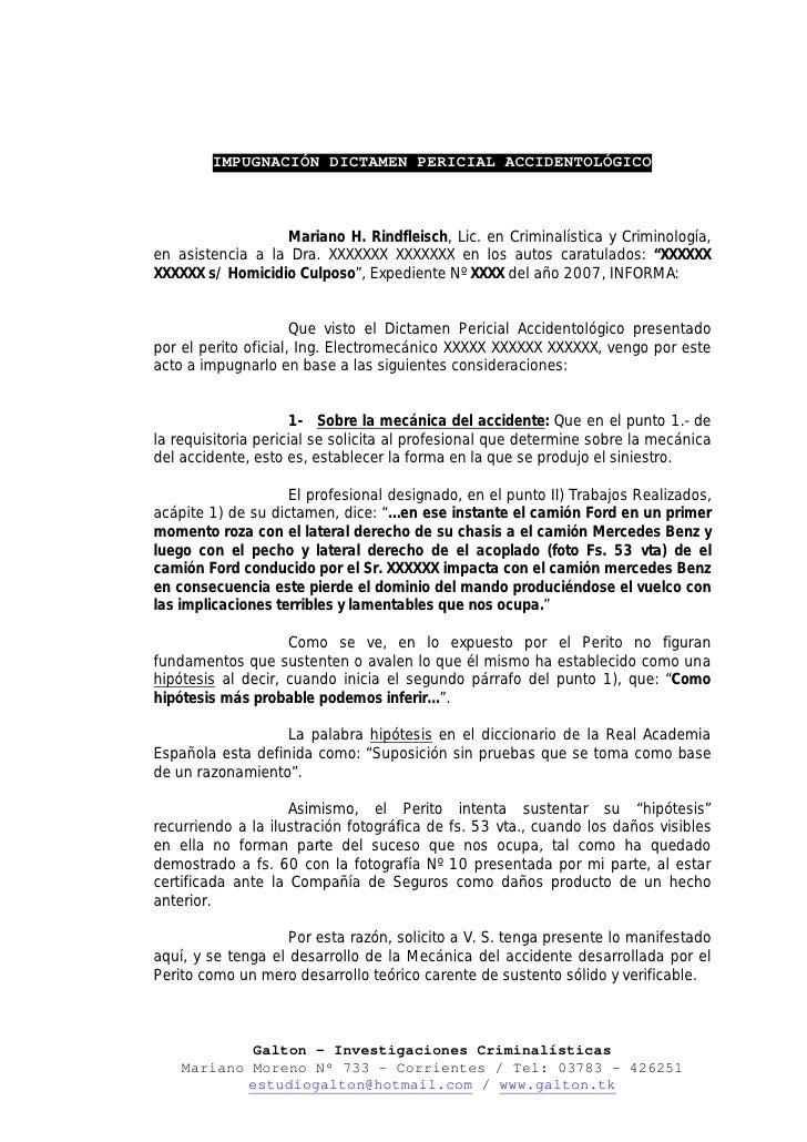 IMPUGNACIÓN DICTAMEN PERICIAL ACCIDENTOLÓGICO                      Mariano H. Rindfleisch, Lic. en Criminalística y Crimin...