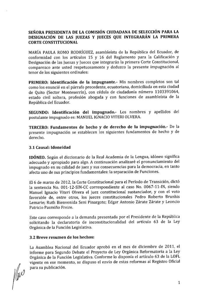 Impugnación Manuel Viteri Olvera