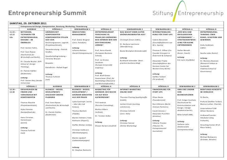 SAMSTAG, 29. OKTOBER 2011          Entrepreneurial Design, Komponenten, Beratung, Marketing, Finanzierung                 ...
