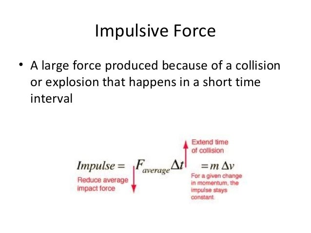 impulsive force An 'impulsive force' is held to be one that operates (strongly) for a short period of time, such as an explosion the impulse is the integral over time of the.