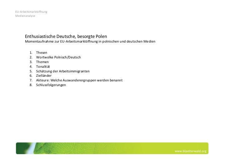 EU-ArbeitsmarktöffnungMedienanalyse      Enthusiastische Deutsche, besorgte Polen      Momentaufnahme zur EU-Arbeitsmarktö...