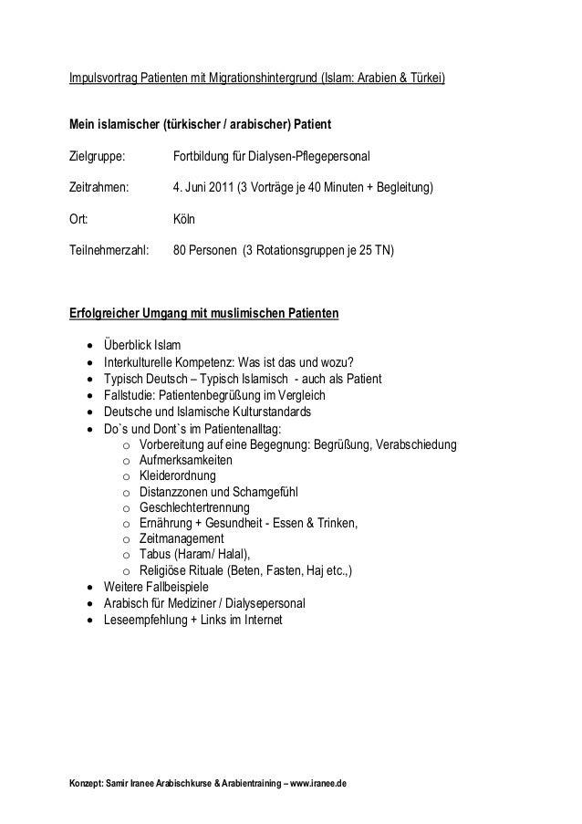 Impulsvortrag Patienten mit Migrationshintergrund (Islam: Arabien & Türkei) Mein islamischer (türkischer / arabischer) Pat...