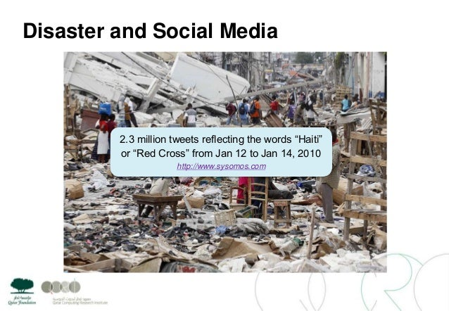 """Disaster and Social Media2.3 million tweets reflecting the words """"Haiti""""or """"Red Cross"""" from Jan 12 to Jan 14, 2010http://w..."""