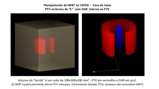 """Planejamento de IMRT no CAT3D : Caso de teste  PTV na forma de """"C"""" com OAR interno ao PTV  Volume do """"tecido"""" é um cubo de..."""