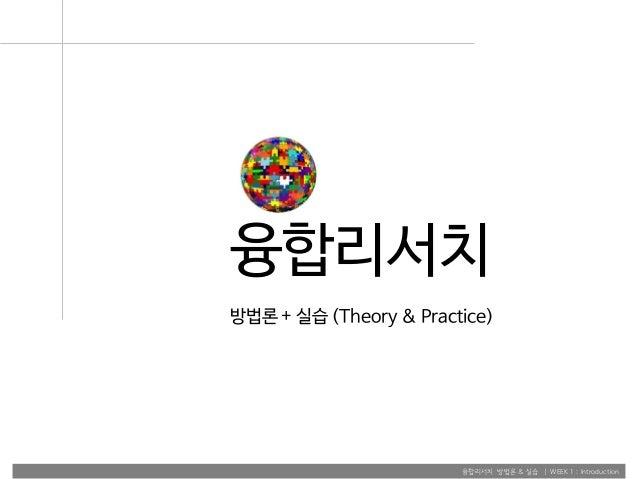 융합리서치 방법론 & 실습 | WEEK 1 : Introduction 융합리서치 방법론 + 실습 (Theory & Practice)