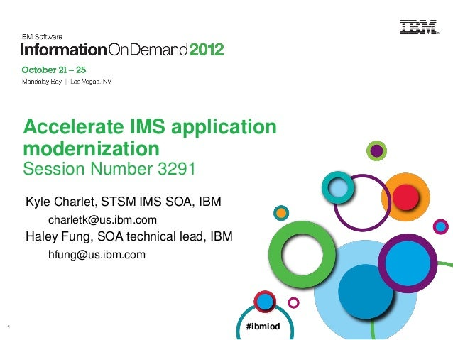 Accelerate IMS application modernization Session Number 3291 Kyle Charlet, STSM IMS SOA, IBM charletk@us.ibm.com  Haley Fu...