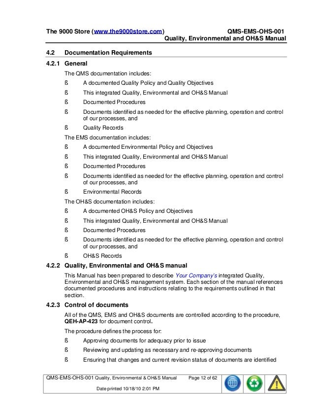 Sample Quality Manual Template - Design Templates