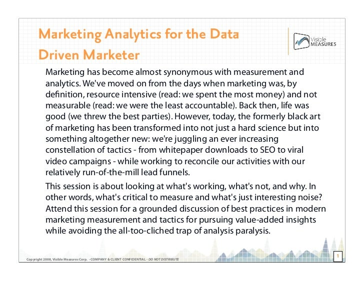 Marketing Analytics for the Data       Driven Marketer            Marketing has become almost synonymous with measurement ...