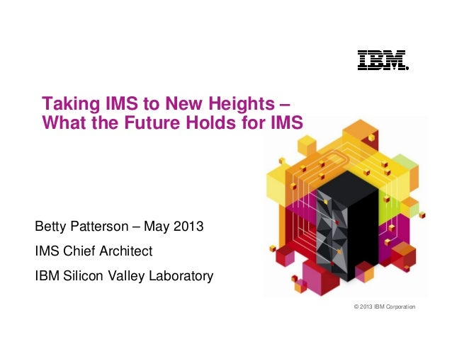 © 2013 IBM CorporationTaking IMS to New Heights –What the Future Holds for IMSBetty Patterson – May 2013IMS Chief Architec...