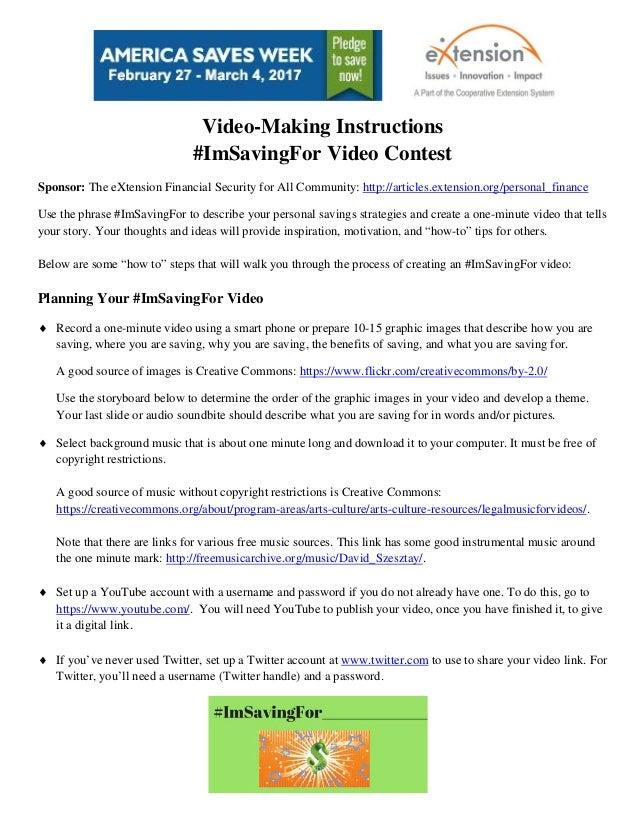 Imsavingfor video contest video making instructions 12 16 for Net making instructions