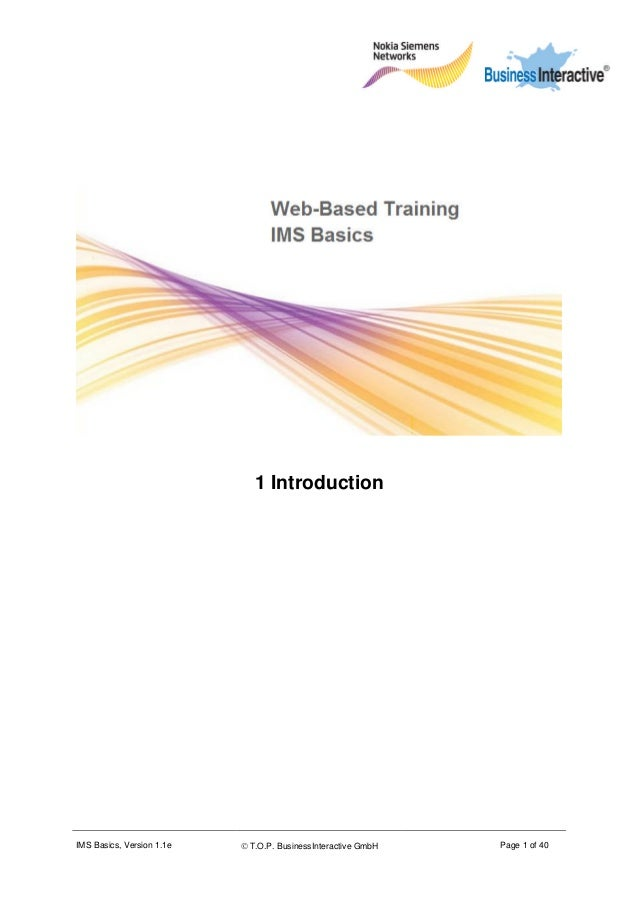 IMS Basics, Version 1.1e  T.O.P. BusinessInteractive GmbH Page 1 of 40 1 Introduction
